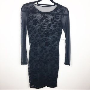 Black Mesh Dress With Fade Out Velvet
